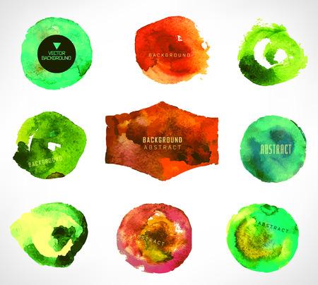 watercolor design elements, background, label, bubble