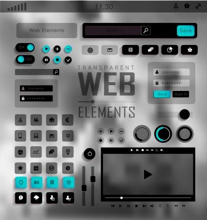 plat: Vector plat transparent Web, mobile Elements, icons. Buttons and Labels, blur background