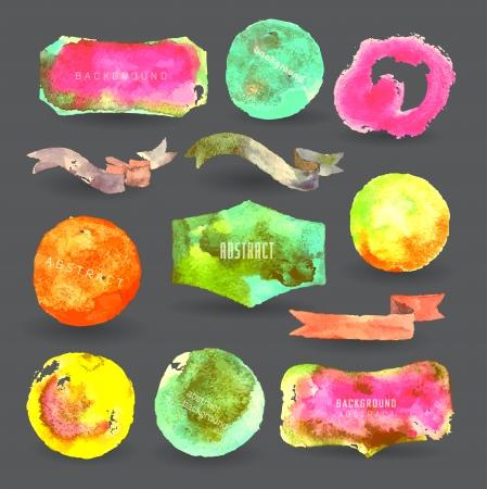 watercolor design elements, label, bubble, ribbon