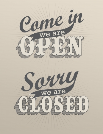 retro open and closed business sign Illustration