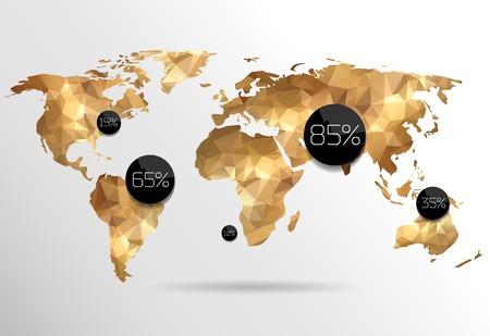 Wereldkaart in veelhoekige stijl. Stock Illustratie