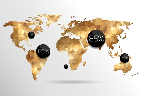 world globe map: World map in polygonal style.