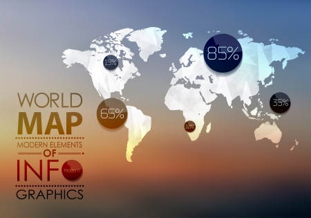 vintage world map: Polygonal World Map and Information Graphics. World Map and typography