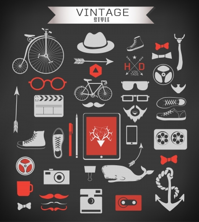 anchor man: Hipster style elements, icons and labels can be used for  retro vintage  website