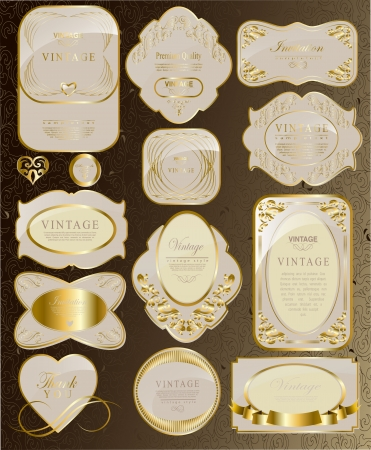 white gold: set of white gold label and ribbon