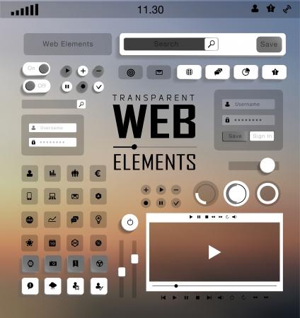 plat: plat transparent Web, mobile Elements, icons. Buttons and Labels, blur  Illustration
