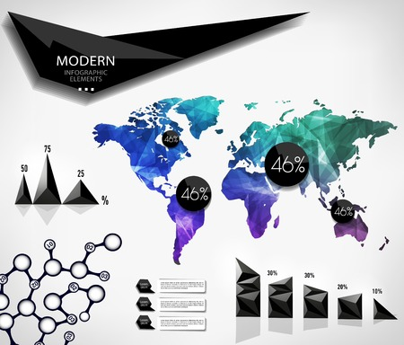 Polygonal World map card. Modern geometrical elements of info graphics. World Map, typography.