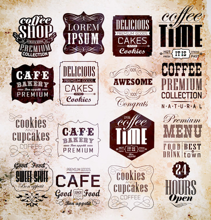 Retro Coffee  Labels and typography background . Coffee decoration collection Vector