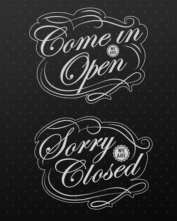 retro open and closed business sign design drawing with chalk on blackboard Vector