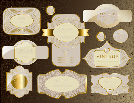 retro vintage set of white gold label and ribbon old Vector