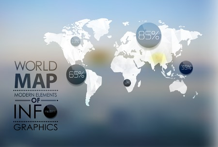Polygonal World Map and Information Graphics. World Map and typography Vector