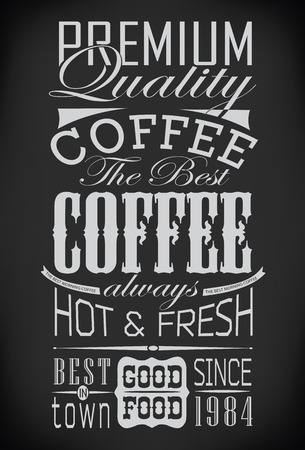 chalkboard: set of coffee labels on chalkboard  vector illustration