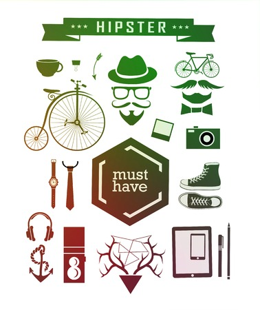 anchor man: Hipster style elements, icons and labels can be used for retro vintage website, info-graphics, banner