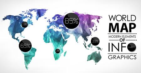 Polygon-Weltkarte-Karte. Moderne geometrische Elemente von Info-Grafiken. Weltkarte, Typografie. Standard-Bild - 25827508