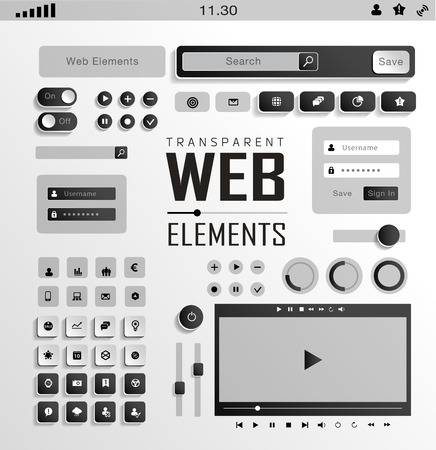 plat: Vector plat transparent Web, mobile Elements, icons. Buttons and Label