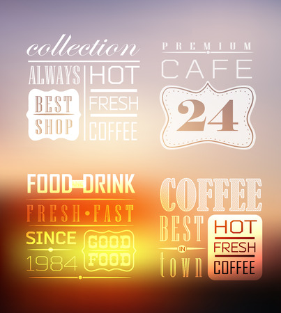 Premium quality coffee collection typography on blur background Vector