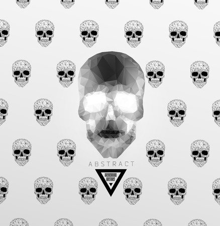 Dark gothic Background with polygonal modern skull,  crystal skull Vector