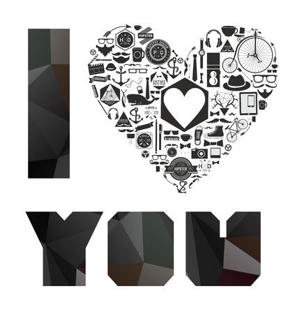 happy valentines day cards I Love You with  hearts Vector