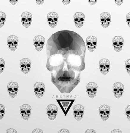 Dark gothic with polygonal modern skull,  crystal skull Vector