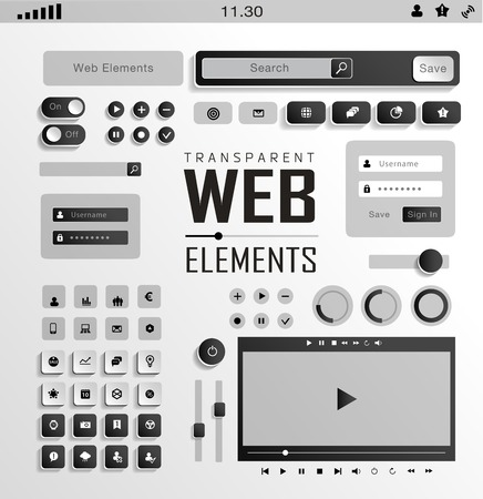 plat transparent Web, mobile Elements, icons. Buttons and Label Vector