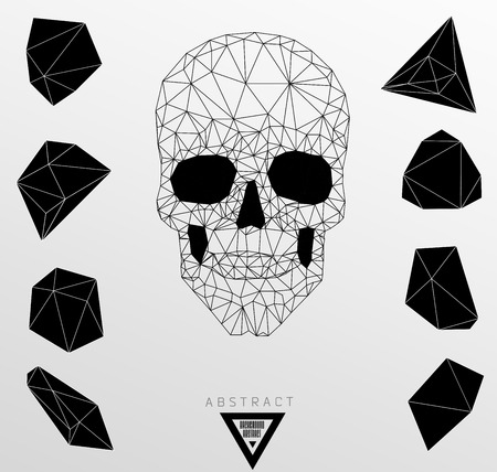 Dark gothic with polygonal modern skull,  crystal skull Vector