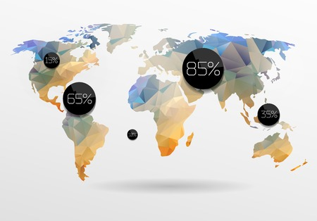 World map in polygonal style.