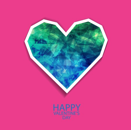 happy valentines day cards with   paper crystall hearts Vector