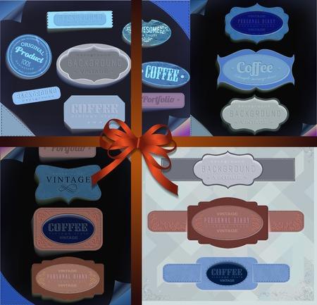 scrap trade: Set di nastri, etichette retr� vintage, emblema. Elementi per la progettazione. Vettoriali