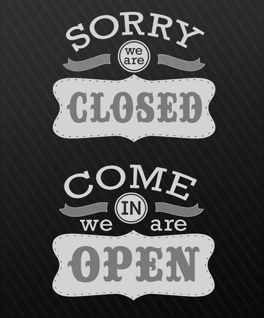 retro open and closed business sign design drawing with chalk on blackboard