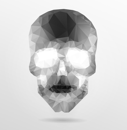 Dark gothic Background with polygonal modern skull,  crystal skull Vector