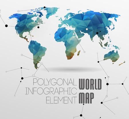 多角形の世界地図と情報グラフィック。世界地図と文字体裁  イラスト・ベクター素材