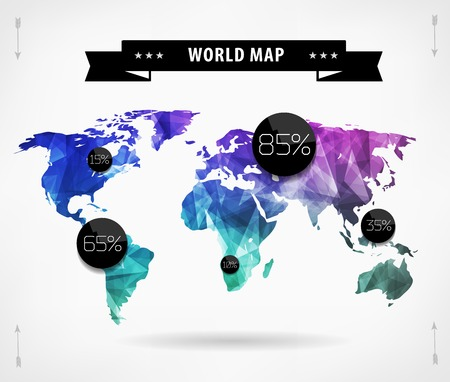 Polygonal World map card. Modern geometrical elements of info graphics. World Map, typography. Vector