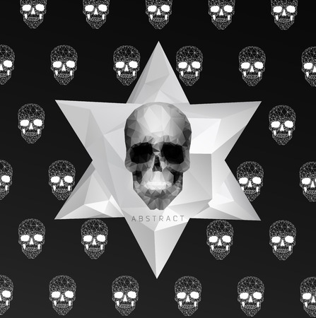 the art of divination: Dark gothic Background with polygonal modern skull,  crystal skull