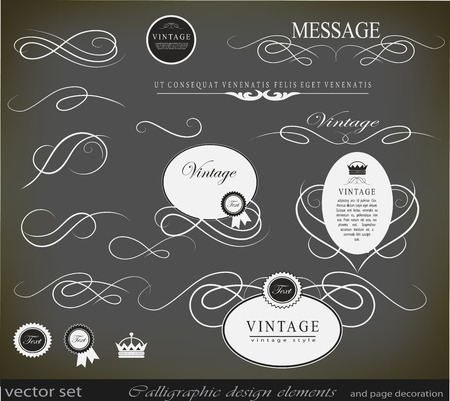 calligraphic design elements can be used for invitation, congratulation or website Stock Vector - 27135940