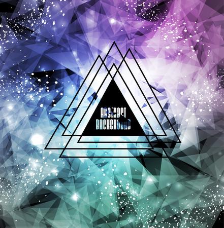 Hipster kosmische achtergrondstraling, veelhoekige driehoeken en ruimte achtergrond