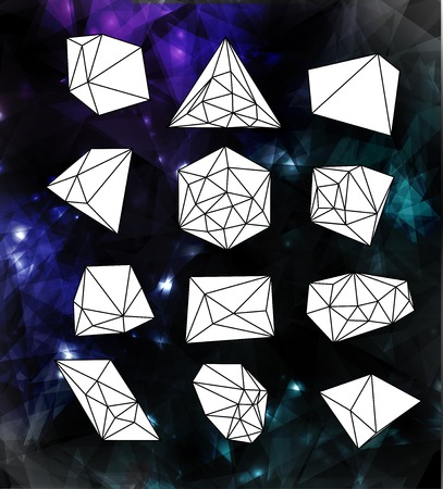 Hipster cosmic  bubble and label, polygonal triangles and space background Stock Vector - 27135992