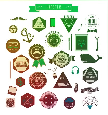 Hipster style elements, icons and labels can be used for retro vintage website, info-graphics, banner Stock Vector - 27136001