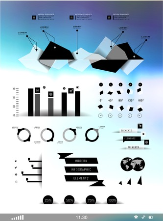 Set elements of infographics on blur background can be used for invitation, congratulation or website Stock Vector - 27136004