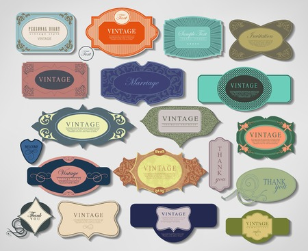 set retro vintage ribbons and label can be used for invitation, congratulation or website Stock Vector - 27136044