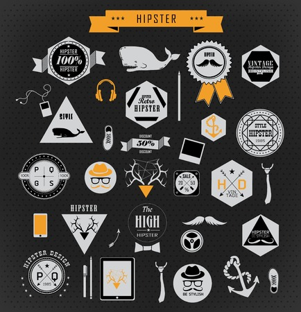 Hipster style elements and icons can be used for  retro vintage  website, info-graphics, banner Stock Vector - 27136137