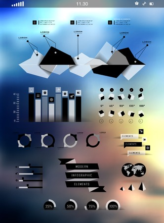 Set elements of infographics on blur background can be used for invitation, congratulation or website Stock Vector - 27136141