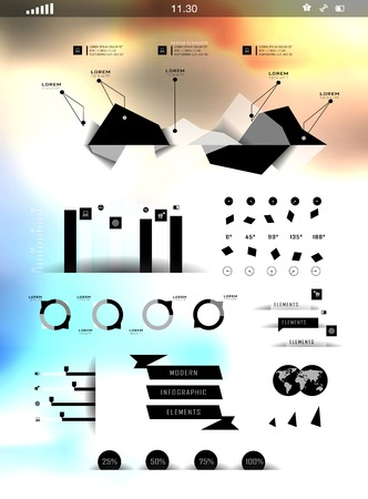 Set elements of infographics on blur background can be used for invitation, congratulation or website Stock Vector - 27136142