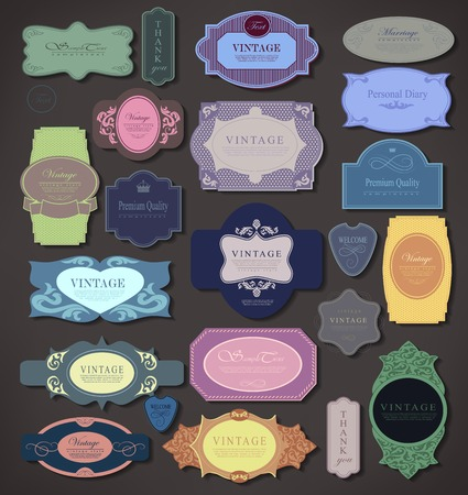 set retro vintage ribbons and label can be used for invitation, congratulation or website Stock Vector - 27136149
