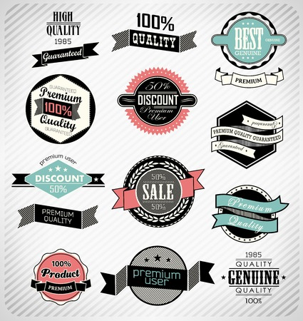 set retro vintage ribbons and label can be used for invitation, congratulation or website Stock Vector - 27136186