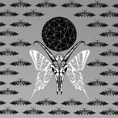 sacral: Abstracte gotische sacrale illustratie met veelhoek, kristal design element, symbool, teken voor tattoo Stock Illustratie