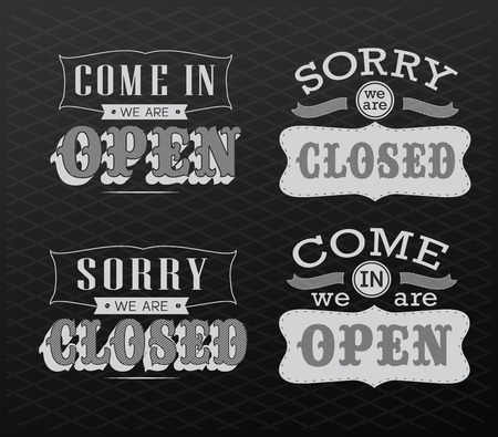 closed business: Open Vintage retro signs  vector illustration  can be used for invitation, congratulation or website Illustration