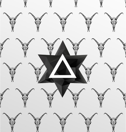 sacral: Abstract  gothic sacral seamless pattern,  crystal design element, symbol, sign for tattoo Illustration