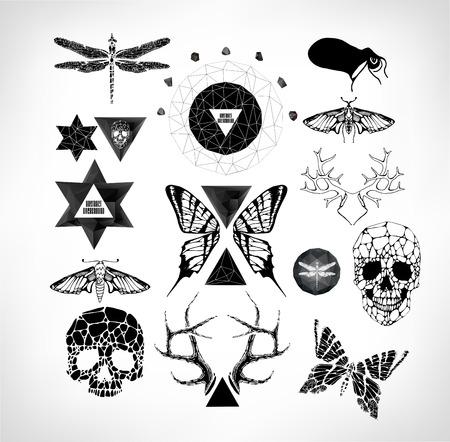 sacral: Abstracte gotische sacrale illustratie met veelhoek, kristal ontwerp element, symbool, teken voor tattoo