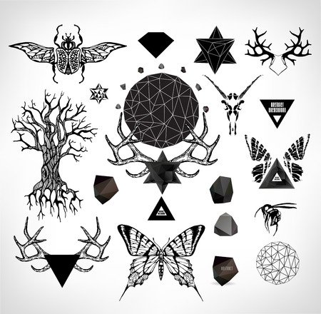 Abstract  gothic sacral illustration with polygon,  crystal design element, symbol, sign for tattoo Vector