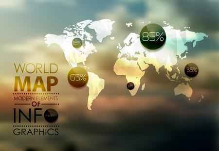 Mapa del Mundo poligonal y gráficos de la Información. Mapa del Mundo y la tipografía